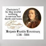 Ben Franklin - certeza Posters