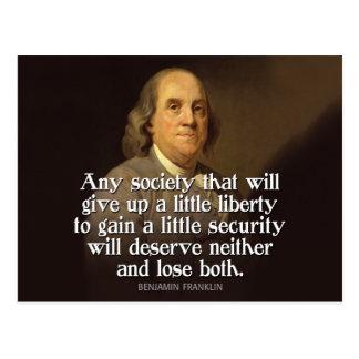 Ben Franklin: Cualquie sociedad que dé para Postales