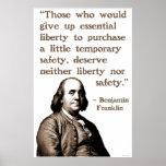 Ben Franklin en libertad y seguridad Impresiones