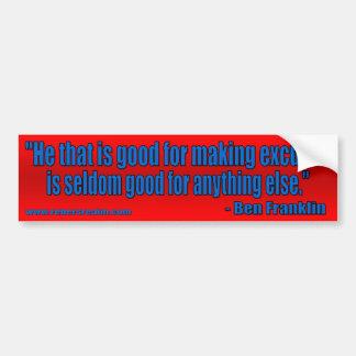Ben Franklin - excusas (rojas) Etiqueta De Parachoque