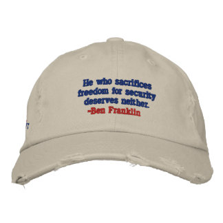 BEN FRANKLIN FREEDOM FOR SECURITY PATRIOT CAP