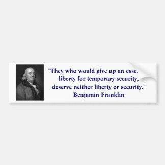 Ben Franklin Liberty Bumper Sticker