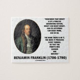 Ben Franklin Money Prolific Generating Nature Jigsaw Puzzle