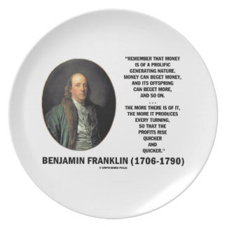 Ben Franklin Money Prolific Generating Nature Melamine Plate