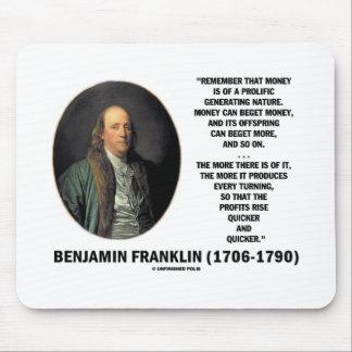 Ben Franklin Money Prolific Generating Nature Mouse Pad