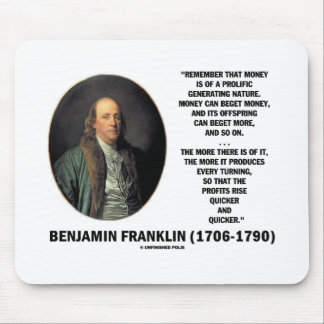 Ben Franklin Money Prolific Generating Nature Mouse Pad