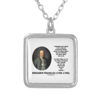 Ben Franklin Money Prolific Generating Nature Silver Plated Necklace