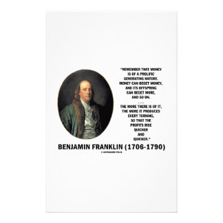 Ben Franklin Money Prolific Generating Nature Stationery
