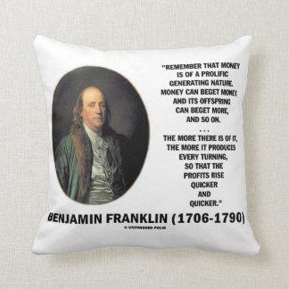 Ben Franklin Money Prolific Generating Nature Throw Pillow