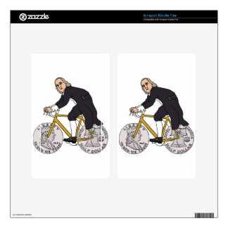 Ben Franklin On A Bike With Half Dollar Wheels Decal For Kindle Fire