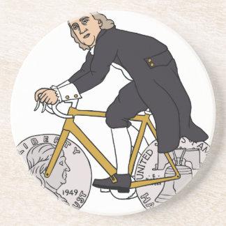 Ben Franklin On A Bike With Half Dollar Wheels Drink Coaster