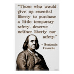 Ben Franklin on Liberty and Safety Posters