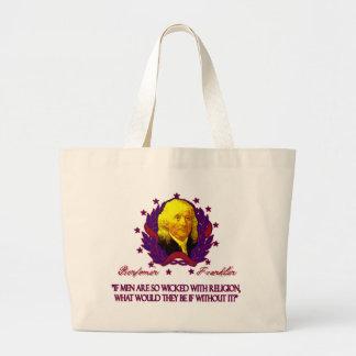 Ben Franklin on Men without Religion Jumbo Tote Bag