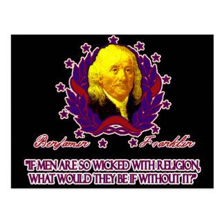 Ben Franklin on Men without Religion Postcard