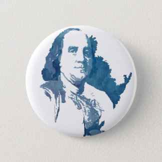 Ben Franklin Pop Art Portrait in Blue Button