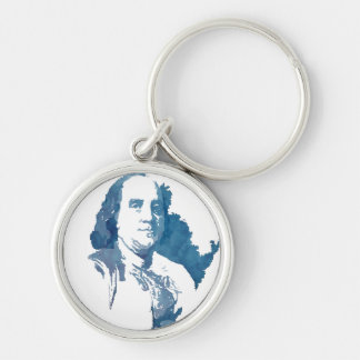 Ben Franklin Pop Art Portrait in Blue Keychain