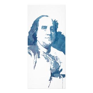 Ben Franklin Pop Art Portrait in Blue Rack Card
