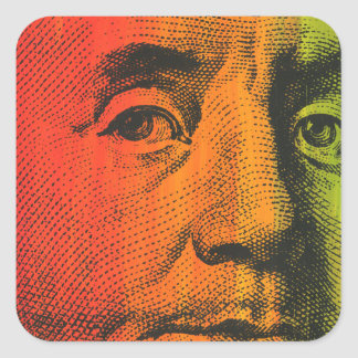 Ben Franklin Portrait- Painting & Silkscreen Square Sticker
