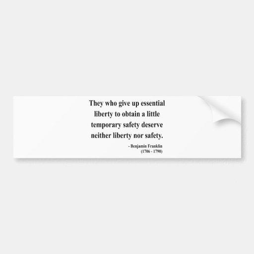 Ben Franklin Quote 1a Car Bumper Sticker