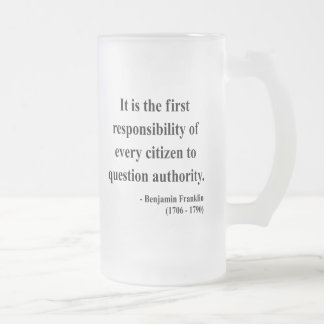 Ben Franklin Quote 3a Frosted Glass Beer Mug