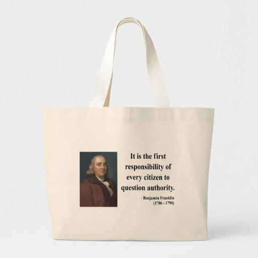 Ben Franklin Quote 3b Canvas Bag