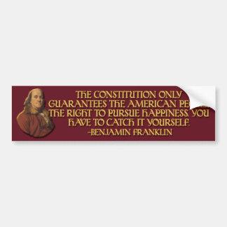 Ben Franklin Quote: Constitutional Guarantees Bumper Sticker