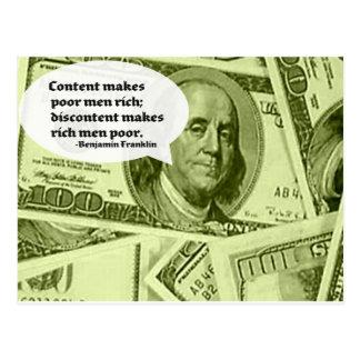 Ben Franklin quote Content makes poor men rich; di Postcard