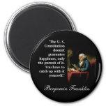 "Ben Franklin Quote ""The U. S. Constitution..."" 2 Inch Round Magnet"