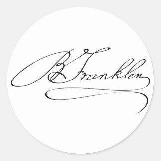 Ben Franklin Signature Classic Round Sticker