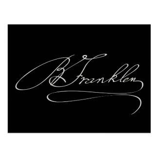 Ben Franklin Signature Postcard