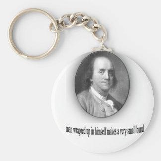 Ben Franklin with Quote Basic Round Button Keychain