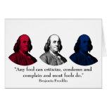 Ben Franklin y cita -- Rojo, blanco, y azul Tarjeta De Felicitación