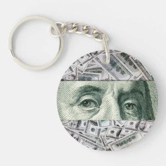 Ben Franklin's Eyes on $100 Bills Money Spread Double-Sided Round Acrylic Keychain