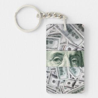 Ben Franklin's Eyes on $100 Bills Money Spread Double-Sided Rectangular Acrylic Keychain