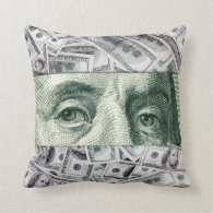 Ben Franklin's Eyes on $100 Bills Money Spread Pillow