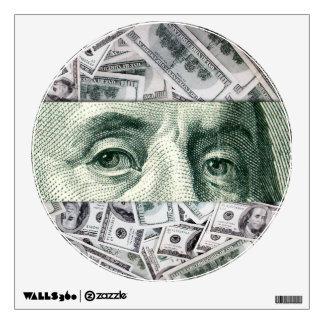 Ben Franklin's Eyes on $100 Bills Money Spread Wall Decal