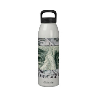Ben Franklin's Eyes on $100 Bills Money Spread Reusable Water Bottle