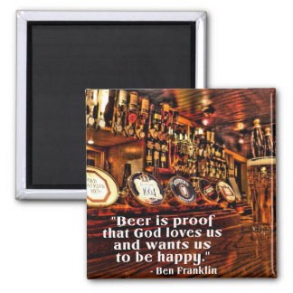 Ben Franklin's Famous Beer Quote 2 Inch Square Magnet