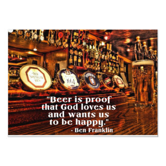 Ben Franklin's Famous Beer Quote Card