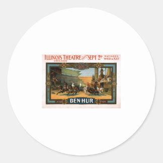 Ben Hur - poster del juego de Broadway Pegatina Redonda