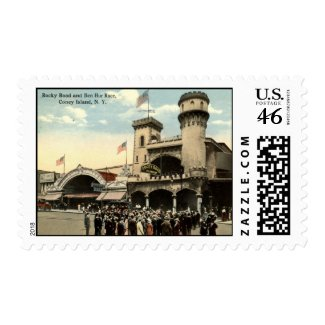 Ben Hur Race Coney Island NY 1914 Vintage stamp