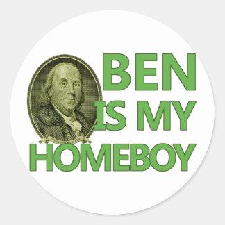 Ben Is My Homeboy Classic Round Sticker