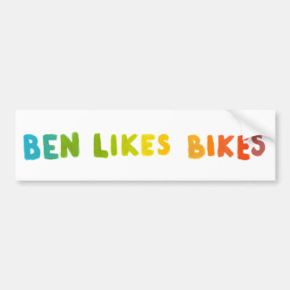 Ben Likes Bikes fun colorful name word art gifts Bumper Sticker