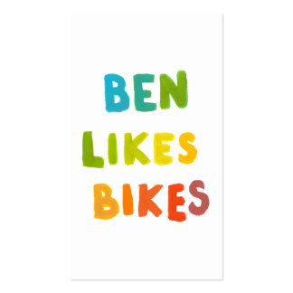 Ben Likes Bikes fun colorful name word art gifts Business Card
