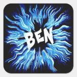 Ben Name Star in Blue Square Sticker