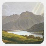 Ben Nevis, placa XII del 'paisaje del Grampian Pegatina Cuadrada