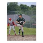 Ben pitching button postcards