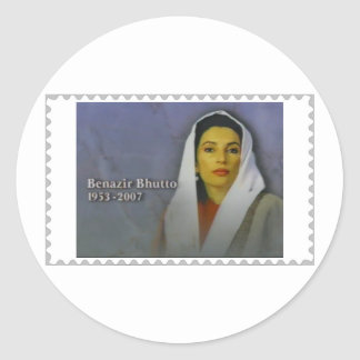 Benazir Bhutto 1953 - 2007 Almost a stamp Classic Round Sticker