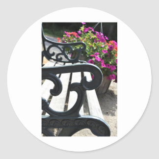 Bench and Flowers Classic Round Sticker