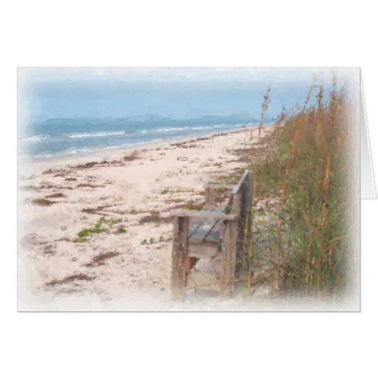 Bench at the Beach Watercolor Painting Card